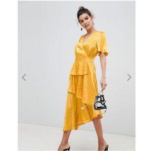 NWT ASOS Y.A.S satin floral wrap midi dress sz L